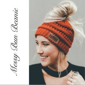 Rust Messy Bun Cable Knit Beanie